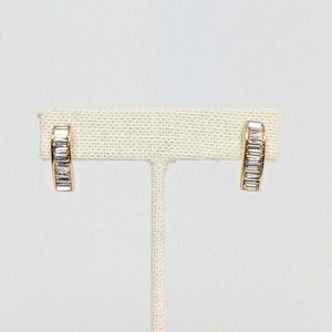 Swarovski Gold Baguette Crystal Earrings